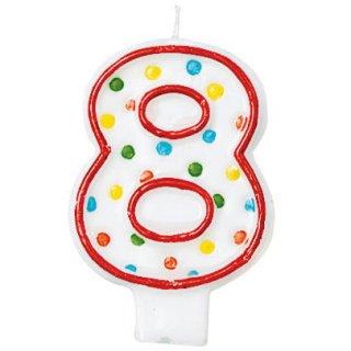 ナンバーキャンドル#8 ポルカドット<br>【Polka Dots】