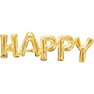 レターバルーン ハッピー ゴールド<br>【Happy Gold】