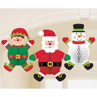 クリスマスパーティー  ハンギングデコレーション クリスマスキャラクターズ  3個セット  天井飾り <br>【 Christmas 】