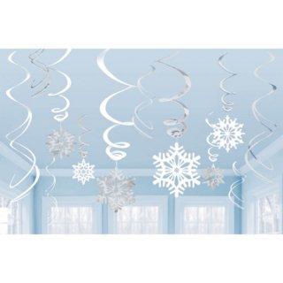 クリスマスパーティー ハンギングスワールデコレーション スノーフレーク スノウ 雪の結晶  天井飾り  【 Christmas 】
