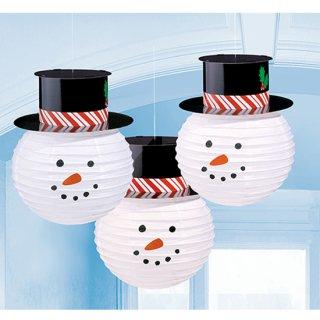 クリスマスパーティー  ハンギングデコレーション ラウンドスノーマンランタンズウィズハット 雪だるま 3個セット【 Christmas 】