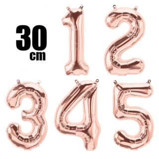 数字バルーン ナンバーバルーン【ローズゴールド】約30cm 風船