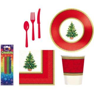 【クリスマス】クラシッククリスマス テーブルウェアセット スパークリングキャンドル付き  4人分 【Christmas】