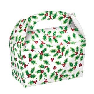 クリスマスパーティー  ペーパーBOX ラージゲイブルボックスカードボード ホリー  5枚入り 【Christmas】