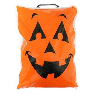 ハロウィン パンプキンフェイスバッグ  プラスティックハンドル 袋 包装<br>【HALLOWEEN】
