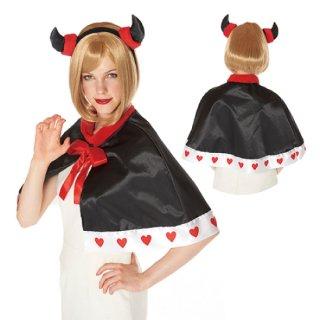 【大人用】デビルケープセット  デビルカチューシャ ハロウィン クリスマス コスプレ 仮装  衣装