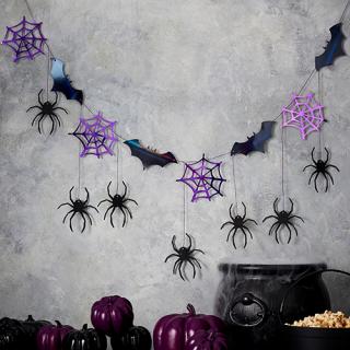 【Ginger Ray】ガーランド 蜘蛛&コウモリ  スパイダー 蜘蛛の巣 蝙蝠【ハロウィン】