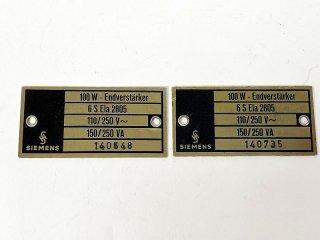 SIEMENS 6S Ela 2805 オリジナル 金属プレート 2個 [25082]