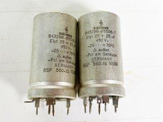 SIEMENS 電解コンデンサー 25MFD+25MFD 450V 2個 [25555]