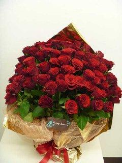【特別価格商品】 大輪赤バラ100本花束