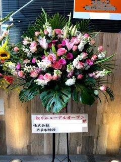 ピンク・白系スタンド花1段