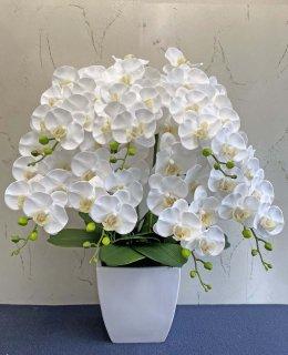 リアルタッチ(潤いのある素材)胡蝶蘭7本立(高さ:約70� 陶器鉢)■色:ホワイト