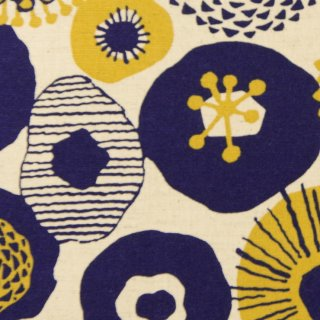 【cotton linen】フラワーブローチ×コットンリネンキャンバス|北欧風シンプルデザイン|ナチュラル×ネイビー