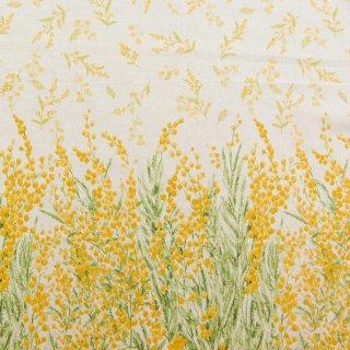 【cotton linen】ミモザの贈り物×コットンリネン|やわらかコットンリネンシーチング|ミモザ柄|オフホワイト|