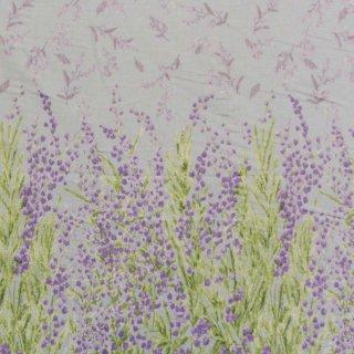 【cotton linen】ミモザの贈り物×コットンリネン|やわらかコットンリネンシーチング|ミモザ柄|グレー|