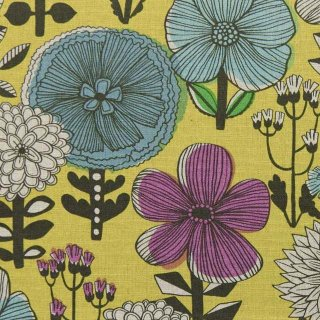 【cotton linen】flower bloom×W巾コットンリネンキャンバス|北欧風デザイン|スモークイエロー|