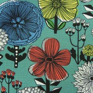 【cotton linen】flower bloom×W巾コットンリネンキャンバス|北欧風デザイン|スモークグリーン|
