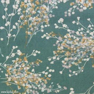 【cotton linen】natural bouquet×cotton linen|やわらかコットンリネンシーチング|グレイッシュグリーン|