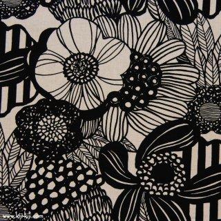 【cotton linen】modern nordic flower コットンリネンキャンバス ブラック 