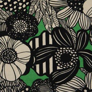 【cotton linen】modern nordic flower|コットンリネンキャンバス|グリーン×ブラック|