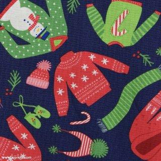 【USAコットン】snow day|コットンシーチング|moda社|winter wear|ネイビー|