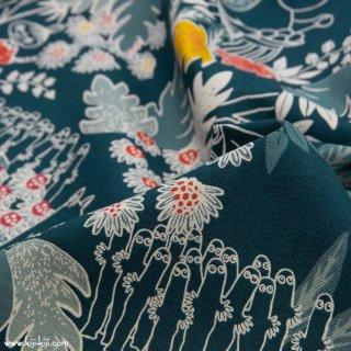 【cotton linen】Moomin fabrics|秘密のジャングル|コットンリネンキャンバス|ネイビー|