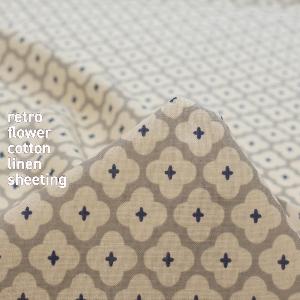 【cotton linen】retro flower-レトロフラワー|コットンリネンシーチング|グレー|