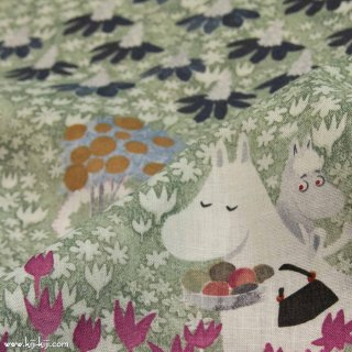 【cotton linen】Moomin fabrics|はらっぱ|コットンリネンシーチング|アンティークリーフ|