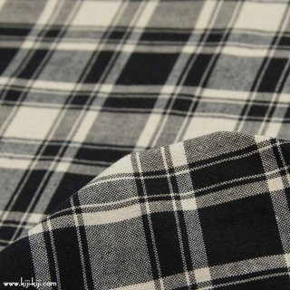 【cotton linen】くったり仕上げのコットンリネン10番キャンバスチェック|モノトーンチェック|