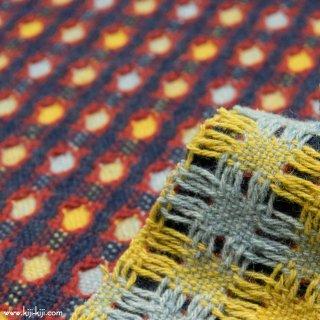 【wool】 毛糸で織ったようなウール2重織ドビー|ネイビー|