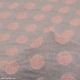 【cotton】シャンブレー生地のドットジャガード|約18mmドット|カットジャガード|グレーピンク|