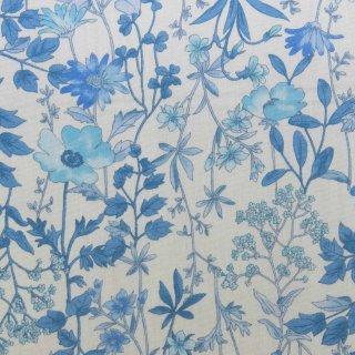 【コットンブロード】  English Garden Flowers|cotton broadcloth|花柄|ホワイトブルー|