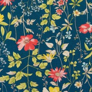 【コットンブロード】  English Garden Flowers|cotton broadcloth|花柄|スモークネイビー|