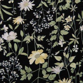 【コットンブロード】  English Garden Flowers|cotton broadcloth|花柄|ブラック|
