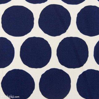 【Cotton twill】Stamp Polka dot|コットンツイル|約5センチドット|ネイビー|