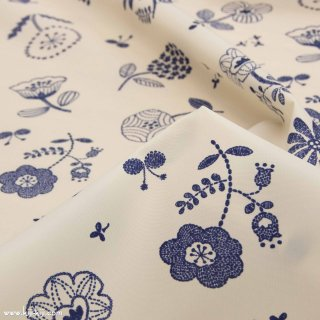 【ナイロンオックス】ステッチフラワー|北欧風デザイン|花柄|オフホワイト|