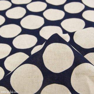 【cotton linen】ポルカドットのコットンリネンキャンバス|水玉|ドット|ネイビー×ナチュラル|