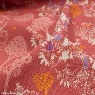 【cotton linen】Moomin fabrics|森のいきもの|コットンリネンキャンバス|スモークレッド|