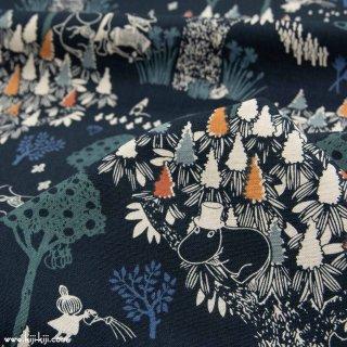 【cotton linen】Moomin fabrics|森のいきもの|コットンリネンキャンバス|ブラックネイビー|