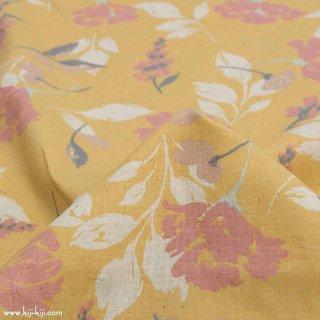 【cotton linen】paint flower|ペイント フラワー|やわらかコットンリネンシーチング|スモークイエロー|