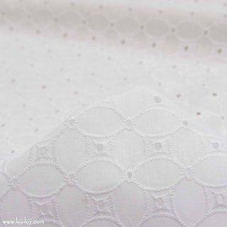【刺繍】フラワーデザインのコットンレース|広巾|刺繍生地|レース生地|ホワイト|