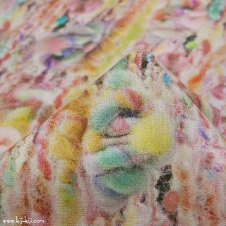 【インクジェットプリント】knitting wool|コットンシーチング|毛糸柄|パステルベージュ|