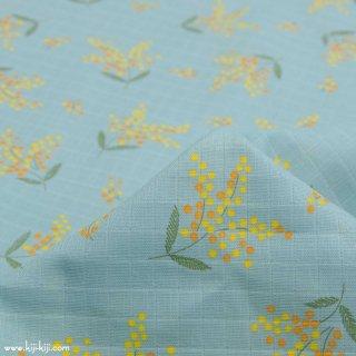 【wg】145cm巾ダブルガーゼのミモザのプレセント|チェックダブルガーゼ|アクア|