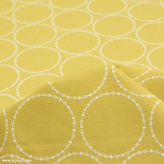 【cotton linen】ring dot|リングドット|コットンリネンシーチング|スモークイエロー|