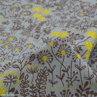 【cotton linen】wild flowers|ワイルドフラワーズ|花柄|コットンリネンキャンバス|ブルーグレー|