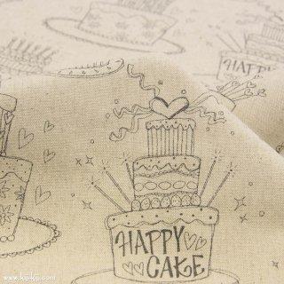 【cotton linen】HAPPY BIRTHDAY !|コットンリネンキャンバス|カワグチミヤコデザイン|ナチュラルブラック|