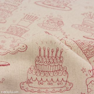 【cotton linen】HAPPY BIRTHDAY !|コットンリネンキャンバス|カワグチミヤコデザイン|ナチュラルレッド|