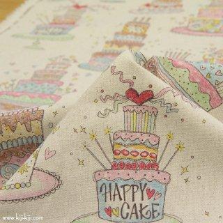 【cotton linen】HAPPY BIRTHDAY !|コットンリネンキャンバス|カワグチミヤコデザイン|ナチュラルカラフル|