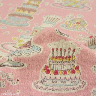 【cotton linen】HAPPY BIRTHDAY !|コットンリネンキャンバス|カワグチミヤコデザイン|ピンク|
