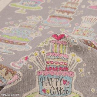 【cotton linen】HAPPY BIRTHDAY !|コットンリネンキャンバス|カワグチミヤコデザイン|グレー|